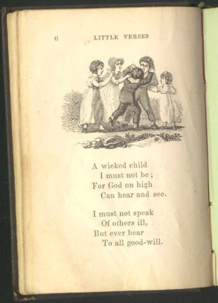 Little verses for good children machine readable transcription an illustration of children fighting in the street one boy is rushing toward another boy who is leaning back in alarm three girls surround the thecheapjerseys Choice Image