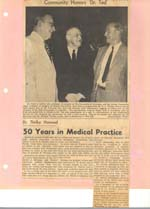 Dr. Thirlby Honored after 50 Years in Medical Practice.
