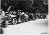 Lorimer and Matson in Chalmers-Detroit cars at the start of the 1909 Glidden Tour automobile parade, Detroit, Mich.