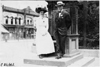 Frank B. Hower and daughter-in-law at 1909 Glidden Tour, Detroit, Mich.