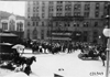 Crowd and trolley in front of the Pontchartrain Hotel at start of 1909 Glidden Tour, Detroit, Mich.