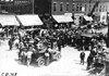 Large crowd greets arrival of Glidden tourists at Rochester, Minn. at the 1909 Glidden Tour