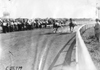 Race horse Dan Patch rounding a corner on race track in Minnesota, at the 1909 Glidden Tour