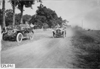 Car #9 passing Studebaker Press car on rural road to Council Bluffs, Iowa at 1909 Glidden Tour