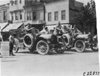 Studebaker cars on cobblestone street in Kansas City, Mo., at 1909 Glidden Tour