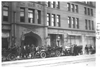 E.M.F. car in front of stone building, on pathfinder tour for 1909 Glidden Tour