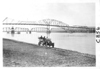 E.M.F. car on shore by bridge, on pathfinder tour for 1909 Glidden Tour