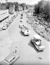 Aerial view of Main St. during parade, July 4, 1955