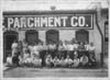 Male and female employees outside Kalamazoo Vegetable Parchment Company