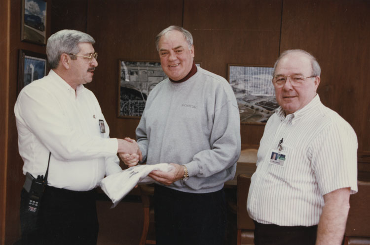 image of Rocky Wright is receiving an award or recogniton by the Plant Manager