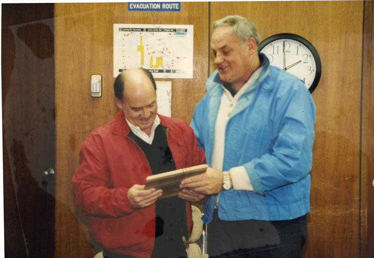 image of Subjects are, from left to right: Dick Budd, James Zubkus (Plant Manager).