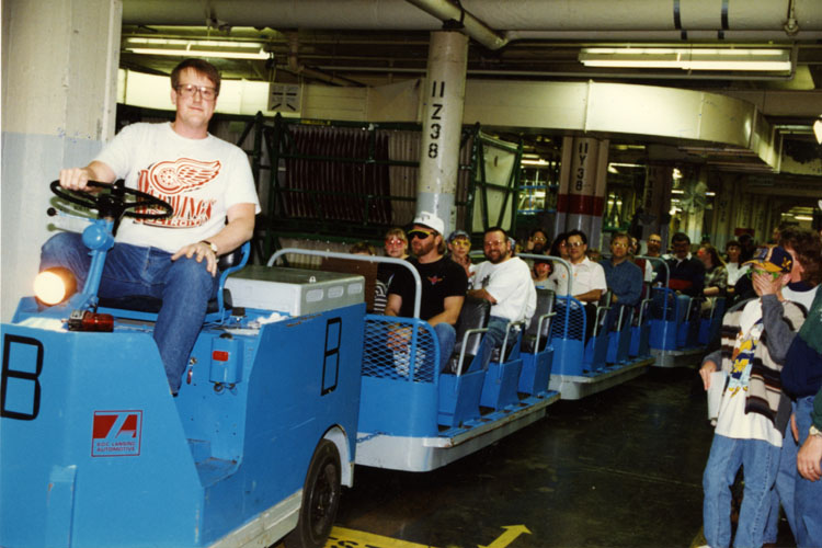 image of Lyle Birchman drives the Fisher Body Tour Train.