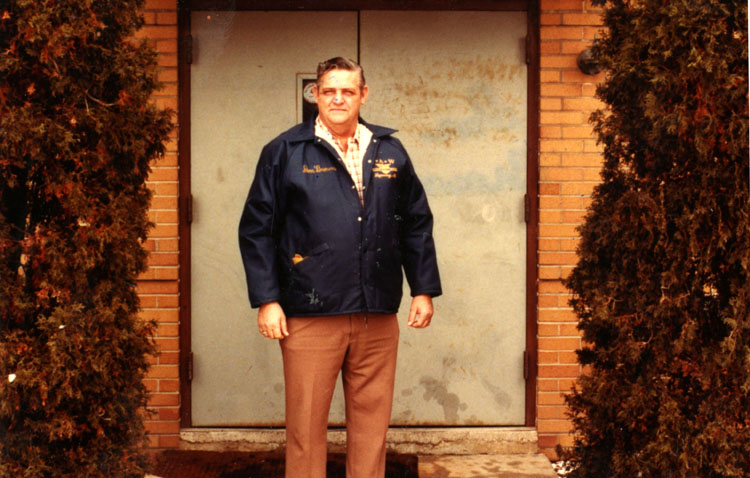 image of Donald Brown standing at the entrance to the Local 602 Union Hall.