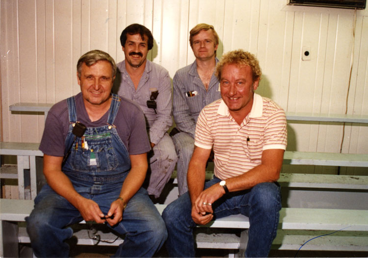 image of Subjects are all UAW skilled trades journeymen.  Subjects are, from left to right: back row – Sam Fountain, Les Trapp; front row – Bill Hicks, Unknown.