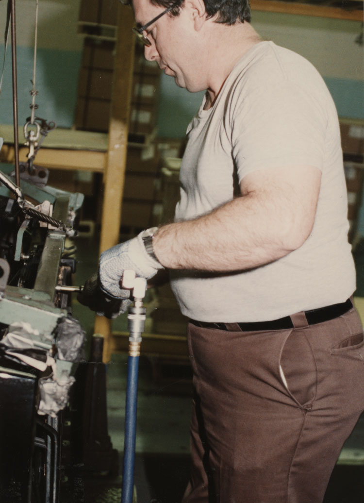 image of Vic Voisinet performing a production operation.
