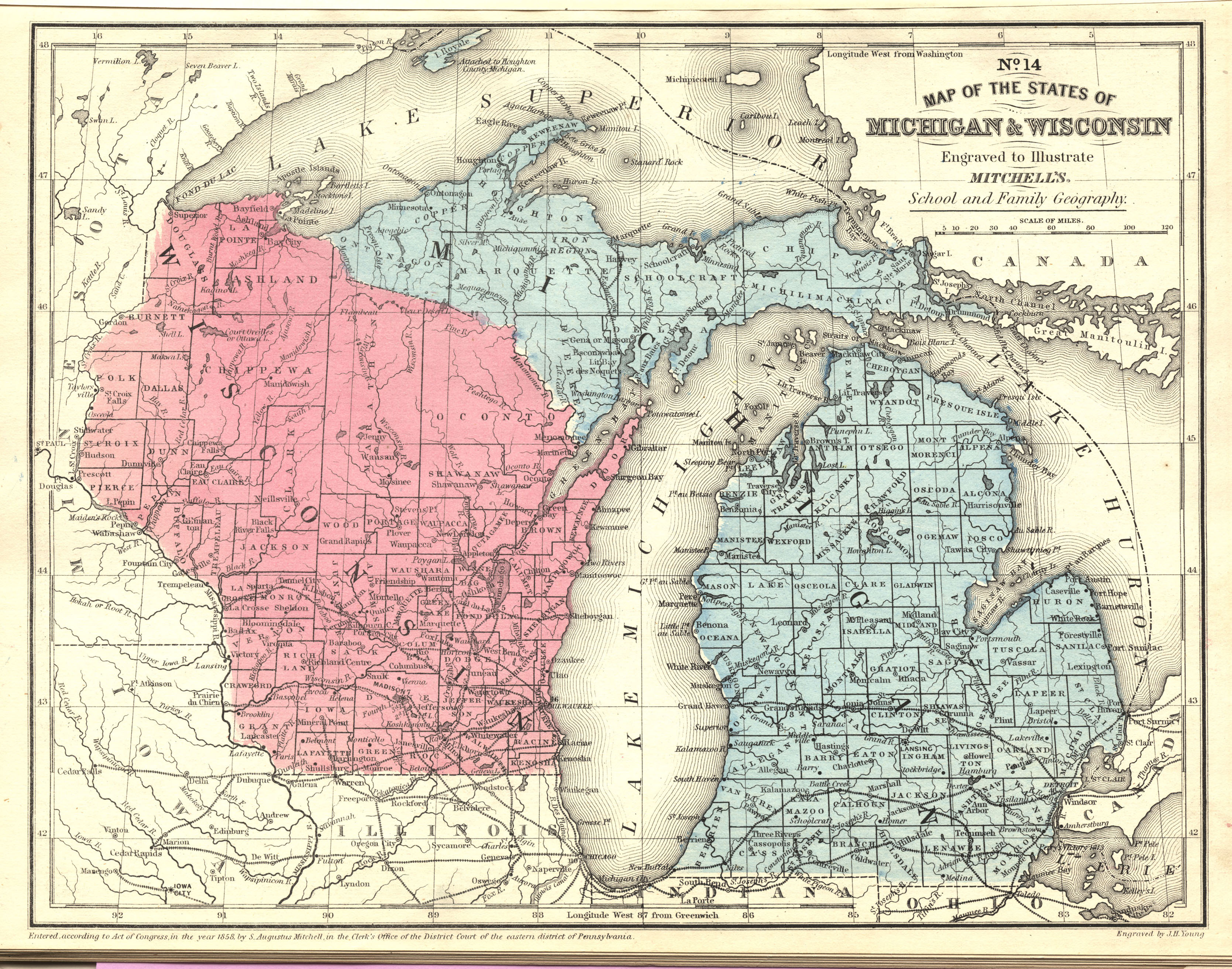 Map of the States of Michigan and Wisconsin, 1866 | Scanned Maps