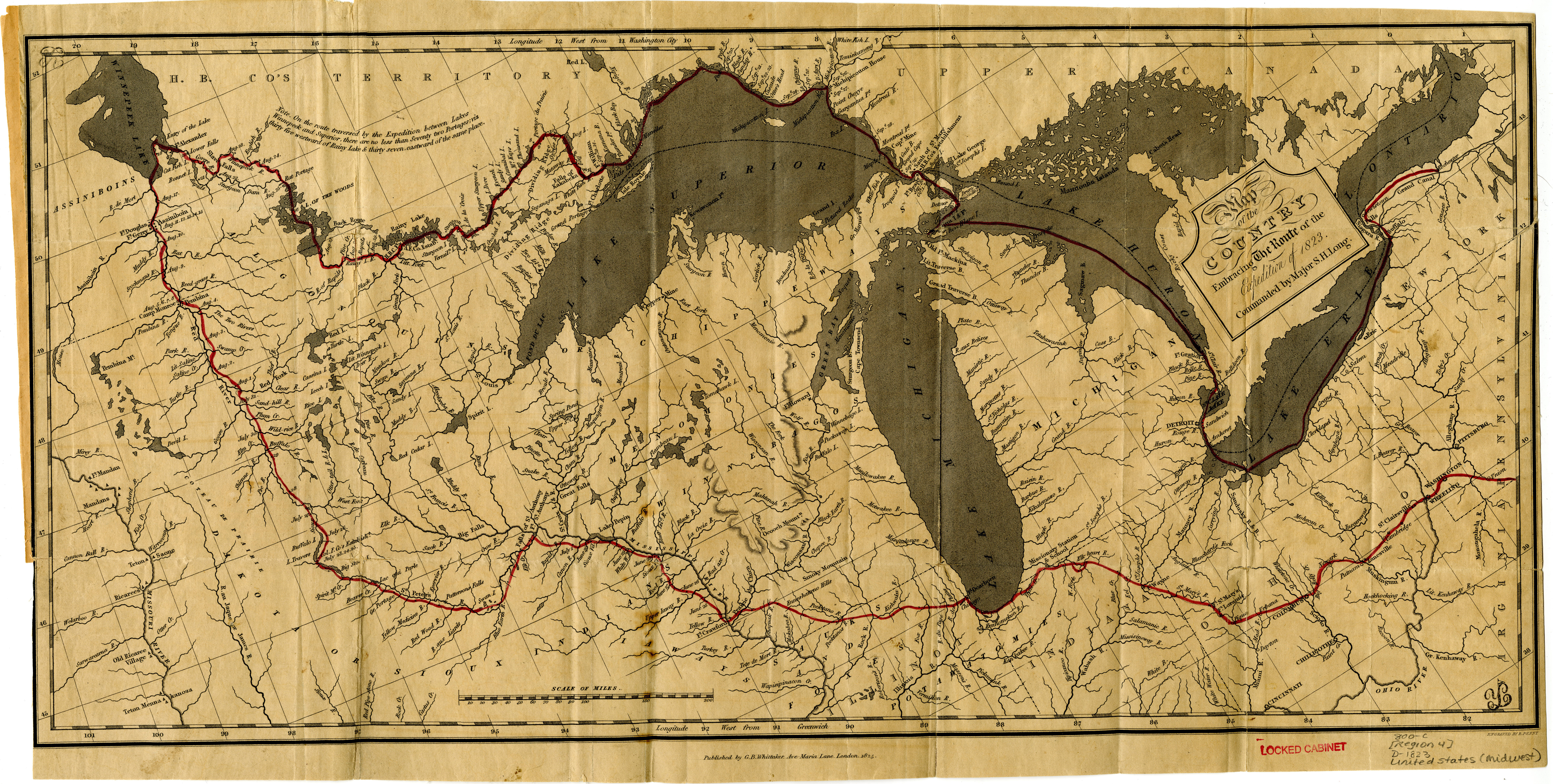 image map of the country embracing the route of the expedition of 1823 commanded by major sh