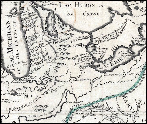 detail from J.B. Nolin's 1756 map of Louisiana and New France