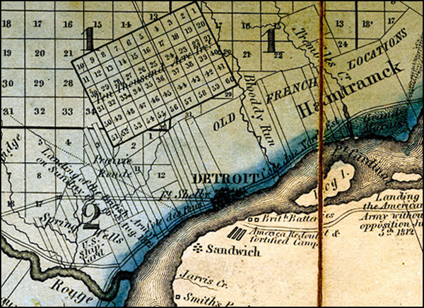 Detroit area from the 1825 Risdon map