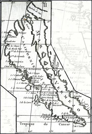 Detail from Vaugondy's Carte de la Californie, 1772