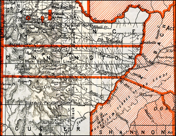 Detail from map, showing the Black Hills and nearby remaining Reservations