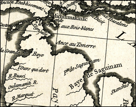 Detail from Canada Louisiane et Terres Angloises 1755
