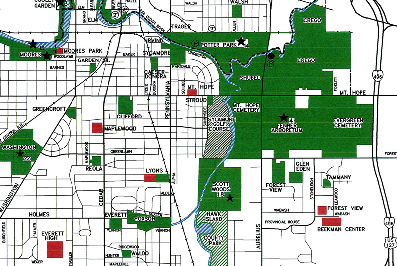 detail from Lansing area parks map