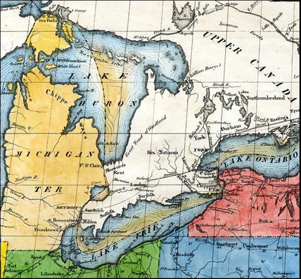 Carte pour servir a l'Itineraire pittoresque du Fleuve Hudson et des Parties laterales de l'Amerique du Nord par J. Milbert 1826