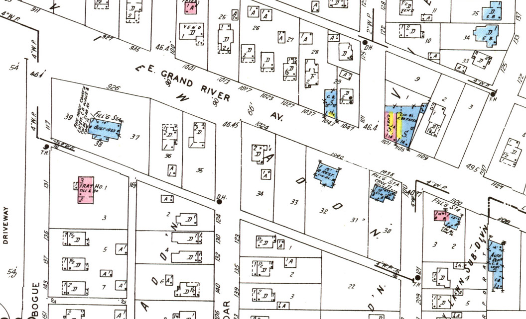 detail from sanborn map of east lansing