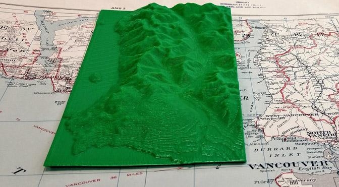 3D print of Vancouver terrain