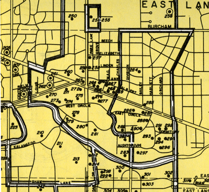 MSU Campus, detail from Community Shelter Map