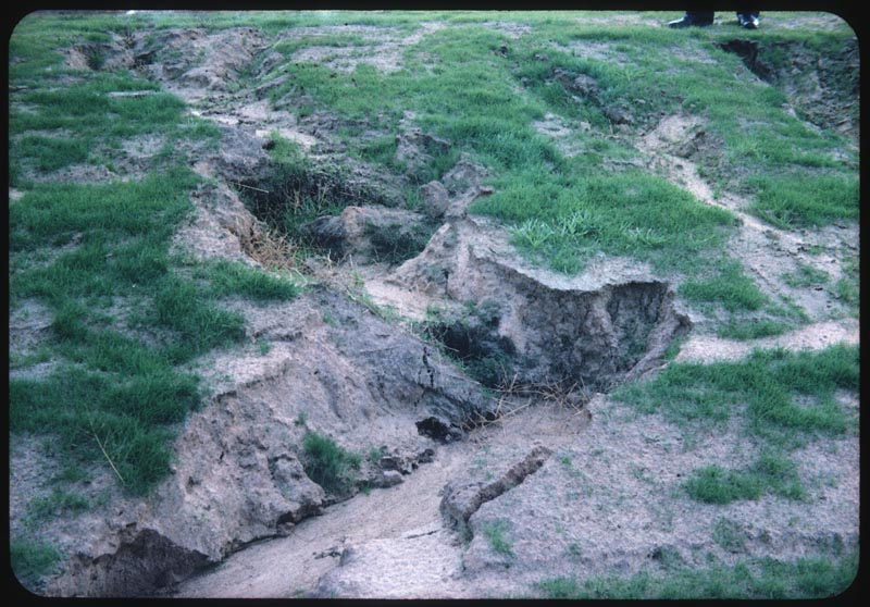 Close-up erosion after soil set