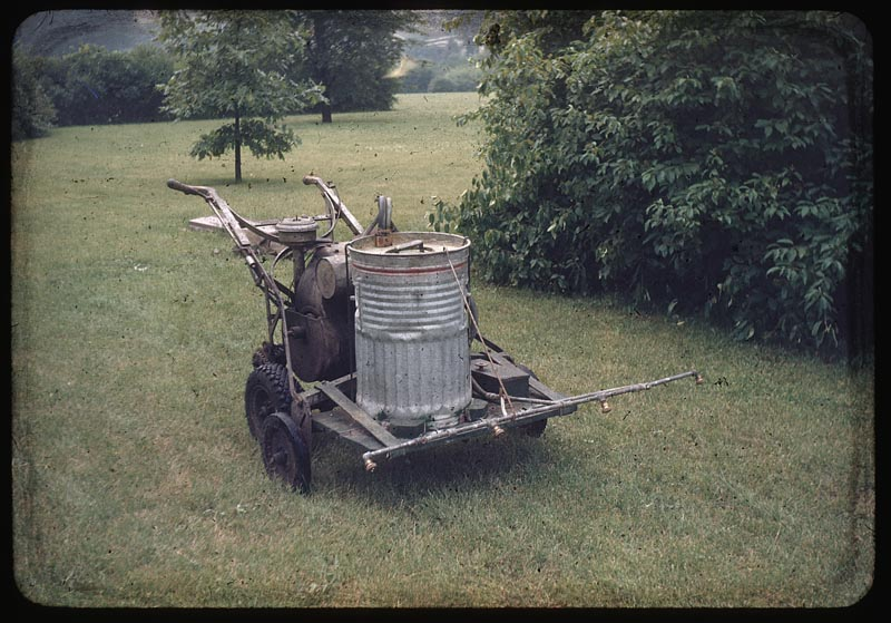 Weed sprayer mounted on power mower