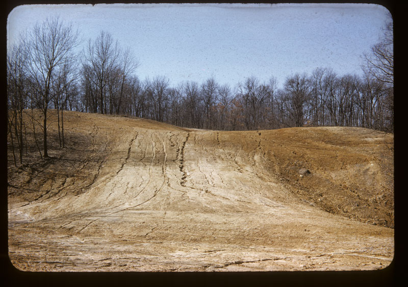 Eroded hill before seeding