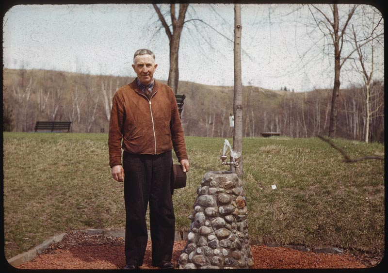 Jack Abbott beside his patented drinking Fountain