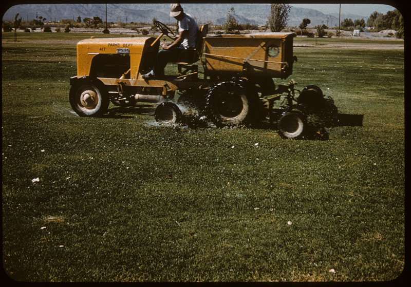 Ponded water thrown by tractor & mowers
