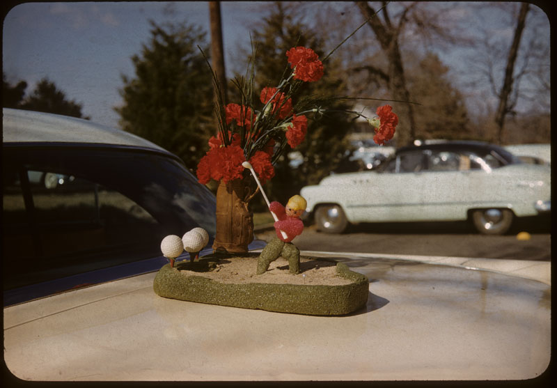 Golfer floral piece presented to Bubber Johnson